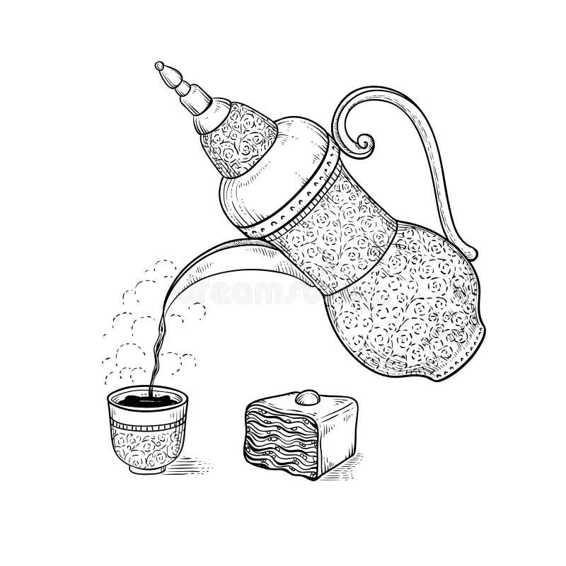 葡萄酒咖啡壶倒了咖啡入有调味的蒸气的计算的杯子 传染媒介略图热的饮料和东方人 皇族释放例证