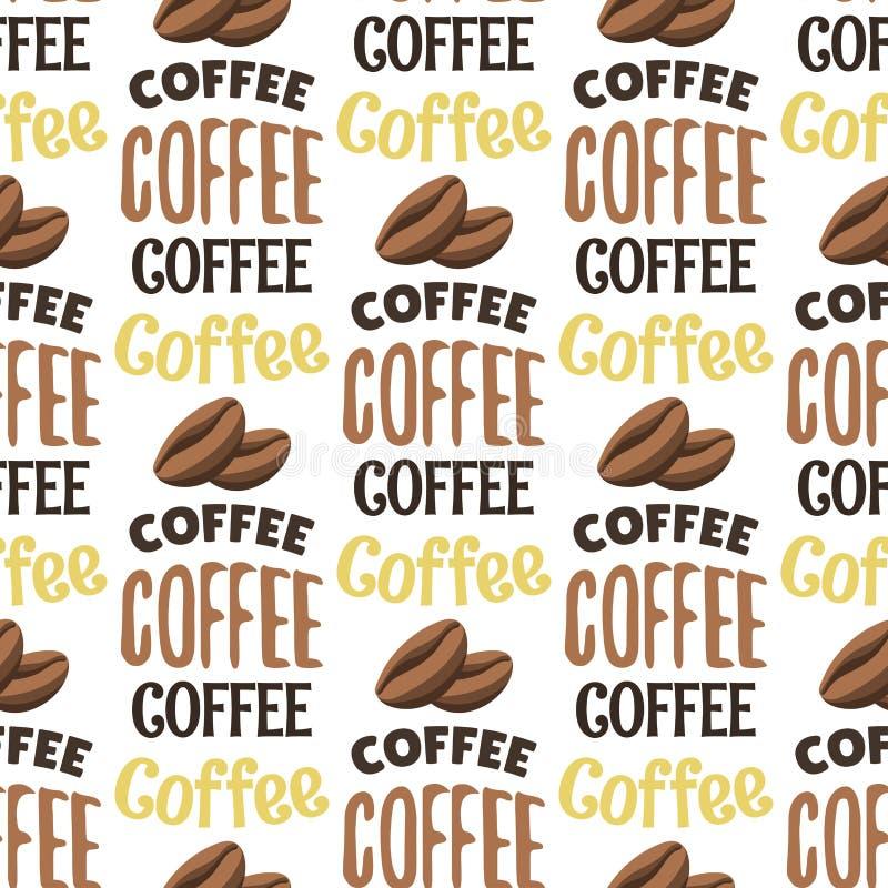 葡萄酒咖啡店标签无缝的样式背景传染媒介书法断裂印刷术字法 库存例证