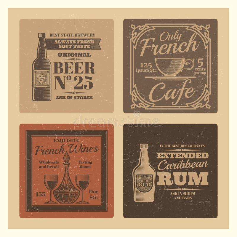 葡萄酒咖啡馆的,酒吧,餐馆传染媒介标签 库存例证