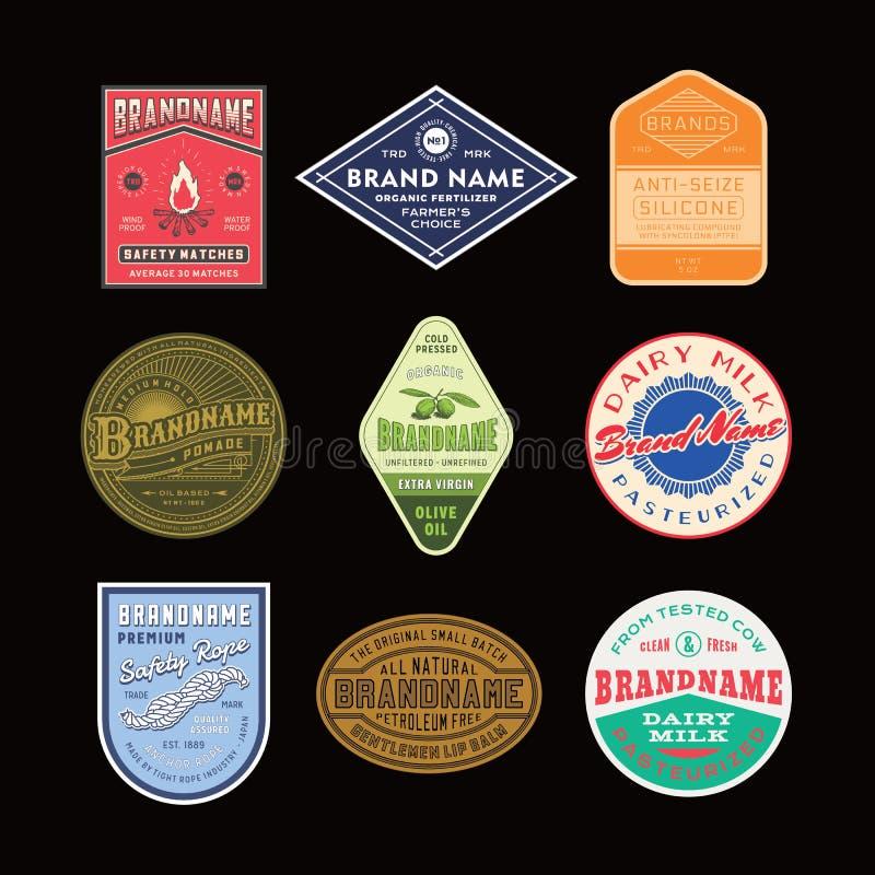 葡萄酒商标和标签设计集合 库存照片