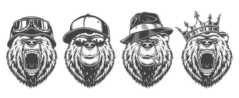 葡萄酒商标样式熊 皇族释放例证