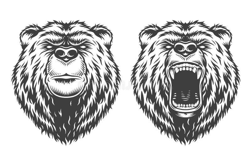 葡萄酒商标样式熊 向量例证