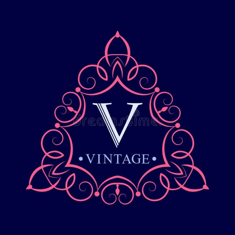葡萄酒商标模板  组合图案最初 优美的边界 装饰叶子装饰品 向量例证