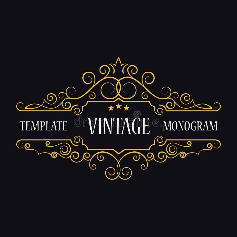 葡萄酒商标模板  组合图案最初 装饰框架 皇族释放例证