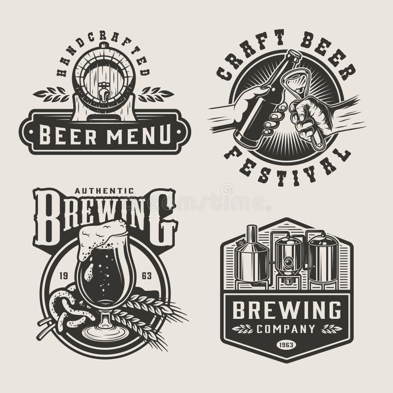 葡萄酒啤酒厂单色标签 库存例证