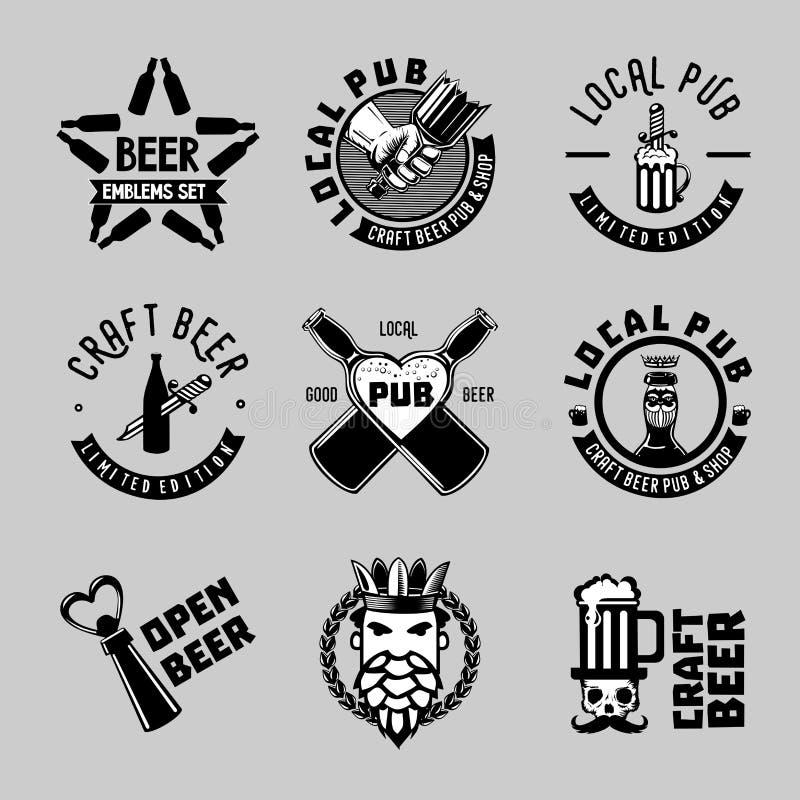 葡萄酒啤酒标签 工艺标志汇集 客栈和酒吧传染媒介标志 向量例证