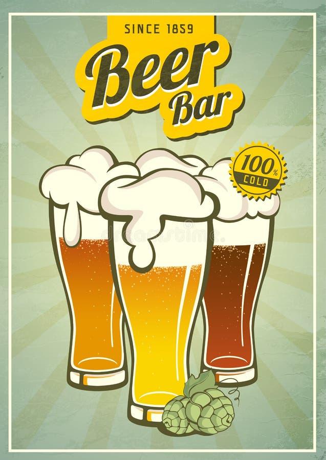 葡萄酒啤酒海报 库存例证