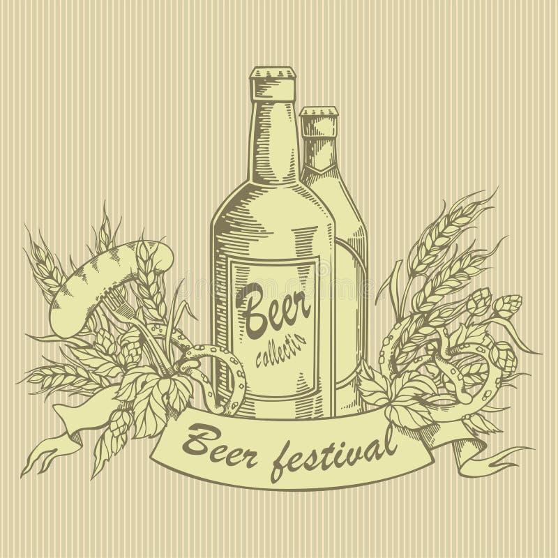 葡萄酒啤酒瓶的传染媒介例证用蛇麻草、大麦、刃角和香肠 皇族释放例证