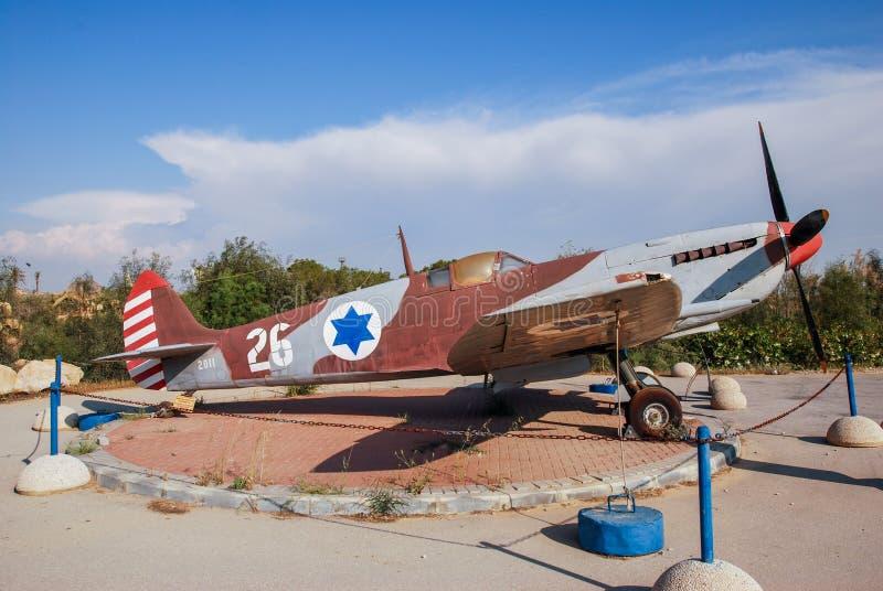 葡萄酒喷火战斗机Mk IX飞机被显示在以色列人空军队博物馆 库存照片