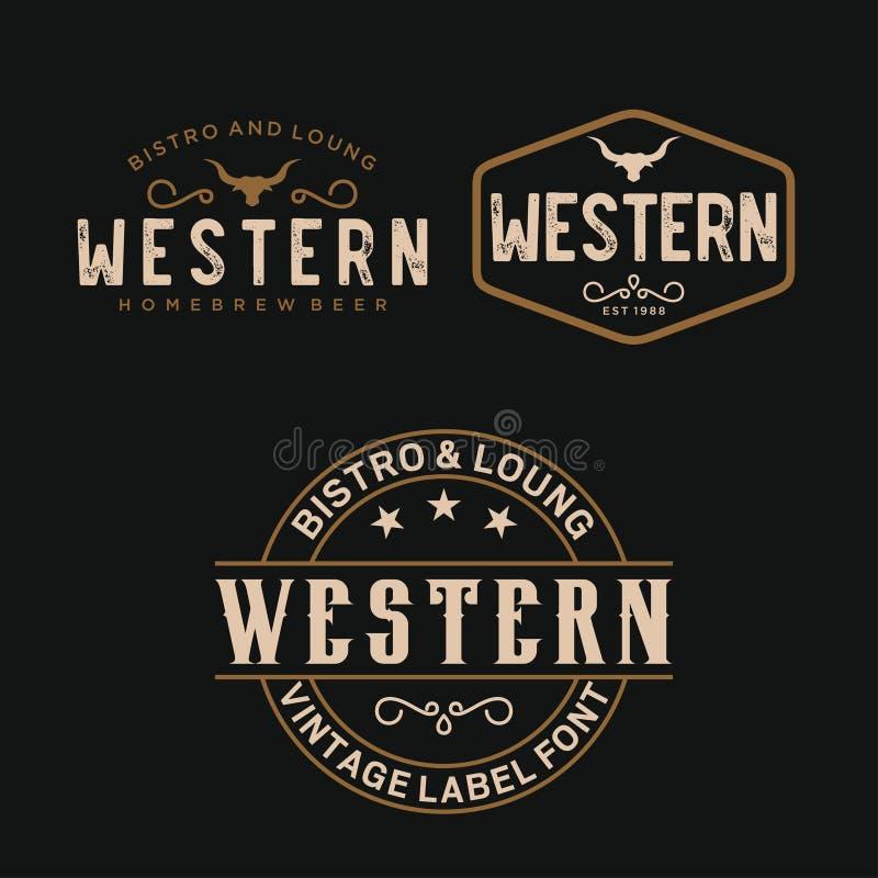 葡萄酒国家西部酒吧/餐馆商标设计启发的-传染媒介象征印刷术 向量例证