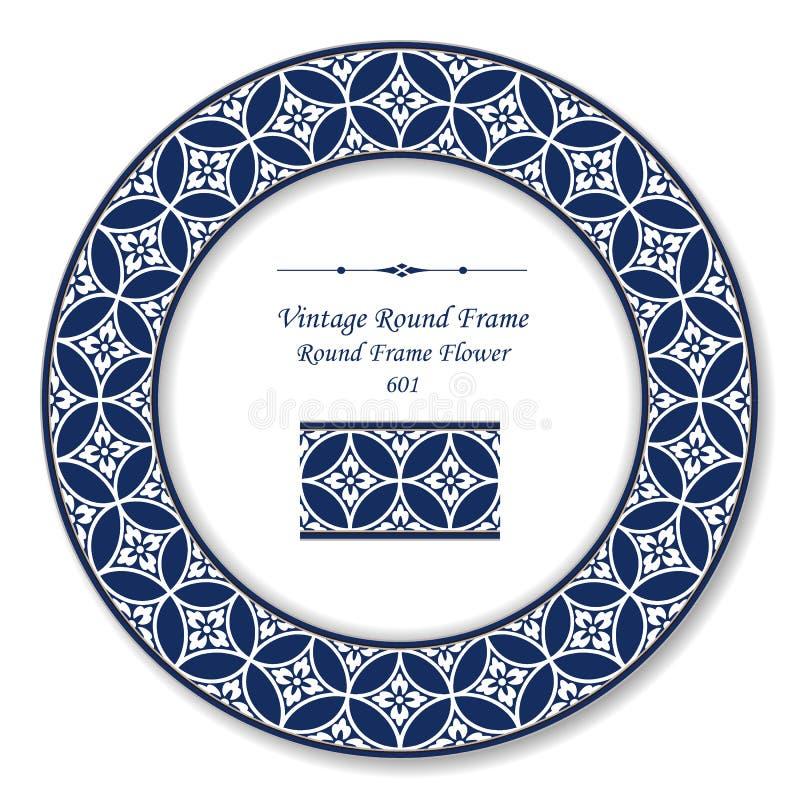 葡萄酒圆的减速火箭的框架圆的发怒蓝色框架花 库存例证