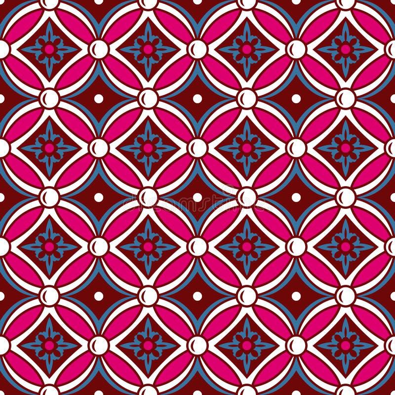 葡萄酒圆的发怒花纹花样的无缝的背景图象 库存例证