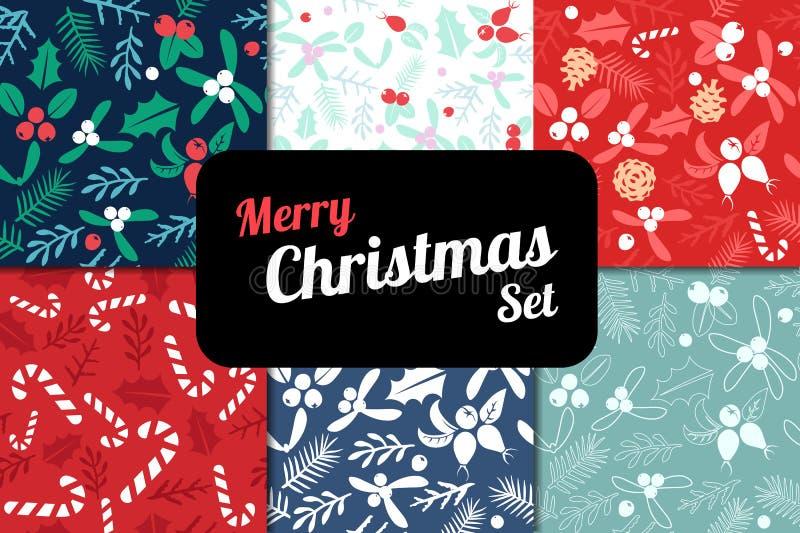 葡萄酒圣诞快乐和新年快乐无缝的样式背景集合 库存例证