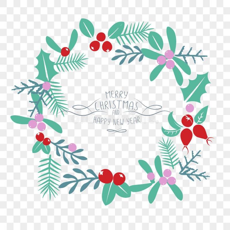 葡萄酒圣诞快乐和新年快乐装饰 皇族释放例证