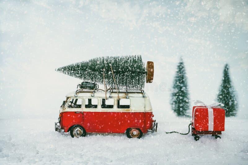 葡萄酒圣诞快乐明信片背景 图库摄影