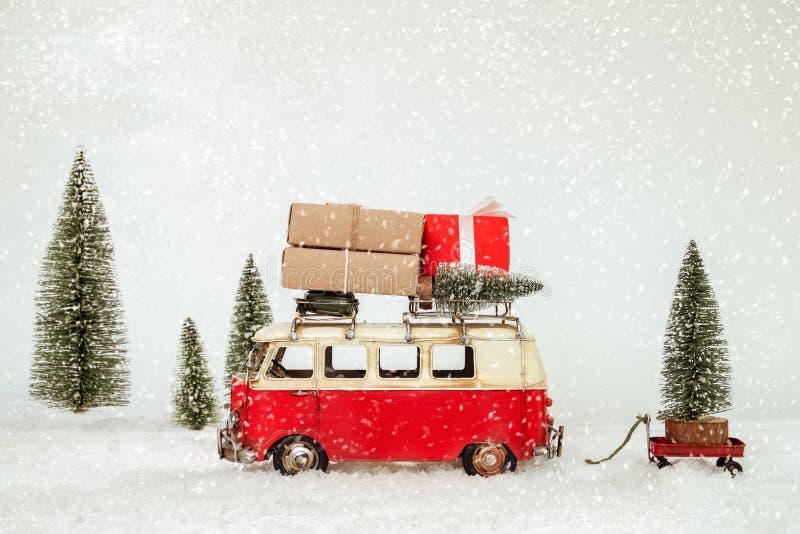 葡萄酒圣诞快乐明信片背景 免版税图库摄影