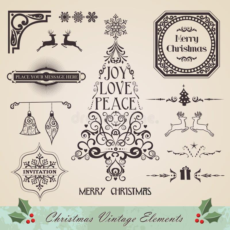 葡萄酒圣诞节元素集 皇族释放例证