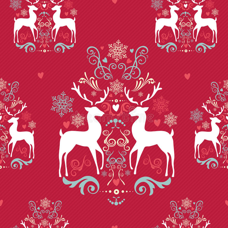 葡萄酒圣诞节元素无缝的样式backgr 库存例证