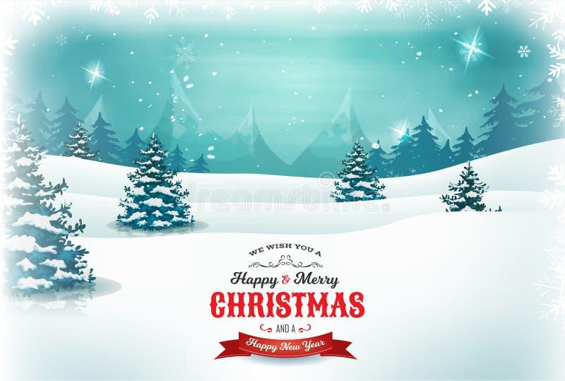 葡萄酒圣诞节和新年风景 向量例证