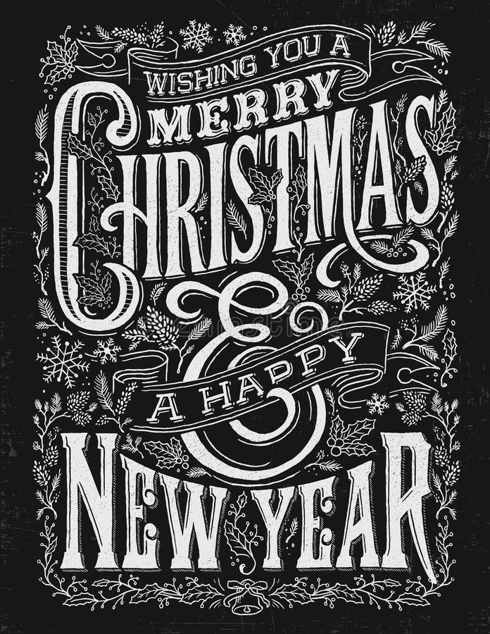 葡萄酒圣诞节和新年黑板印刷术锁住 向量例证
