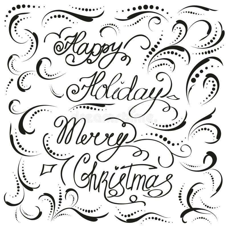 葡萄酒圣诞节手拉的卡片假日新年好背景传染媒介例证 库存例证