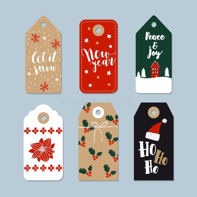葡萄酒圣诞节被设置的礼物标记 手拉的标签,在行情上写字 被隔绝的例证对象 向量例证