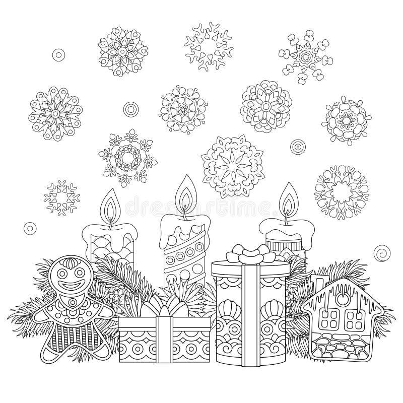 葡萄酒圣诞节装饰和礼物 向量例证