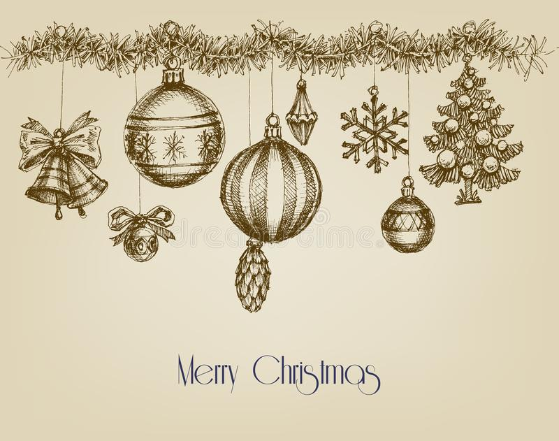 葡萄酒圣诞节装饰品 库存例证