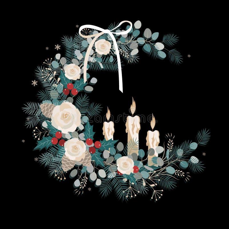 葡萄酒圣诞节贺卡,与花圈的邀请由冷杉,玉树分支,玫瑰花,pinecones制成 皇族释放例证
