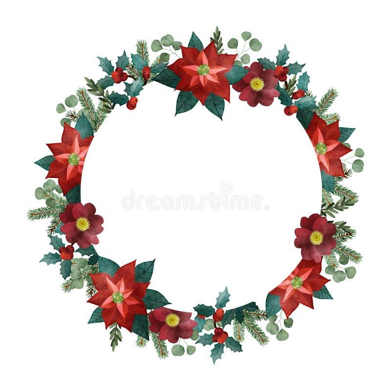 葡萄酒圣诞节贺卡,邀请 水彩圆的框架,花圈 杉树,玉树分支,一品红 皇族释放例证