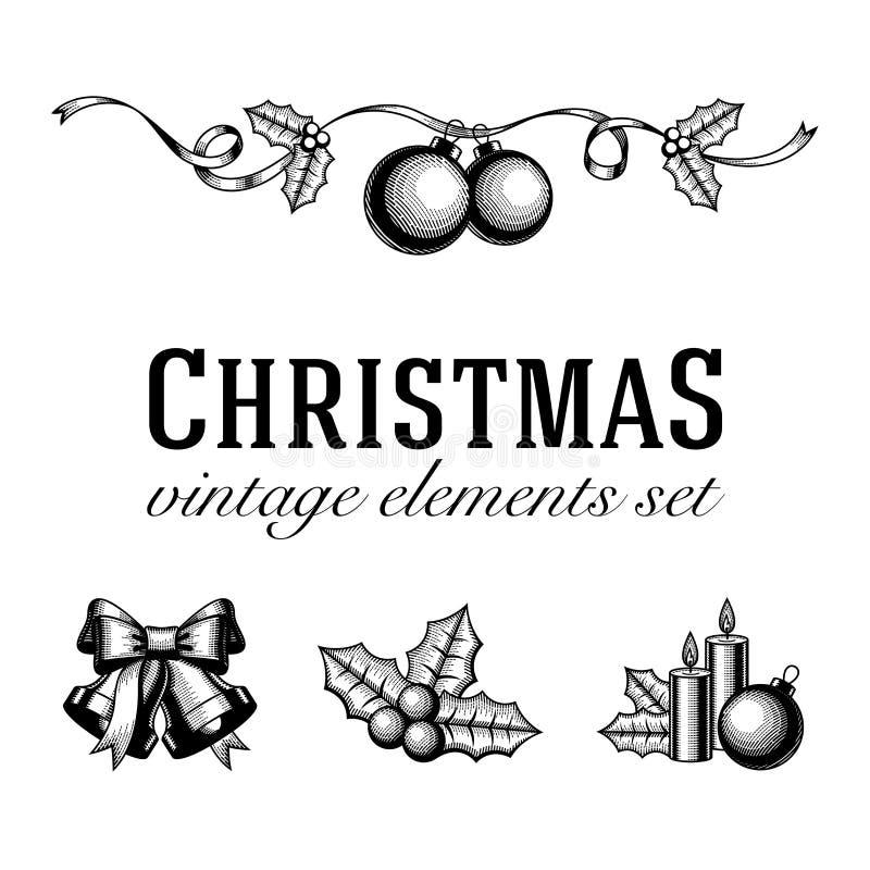 葡萄酒圣诞节集合木刻 库存例证