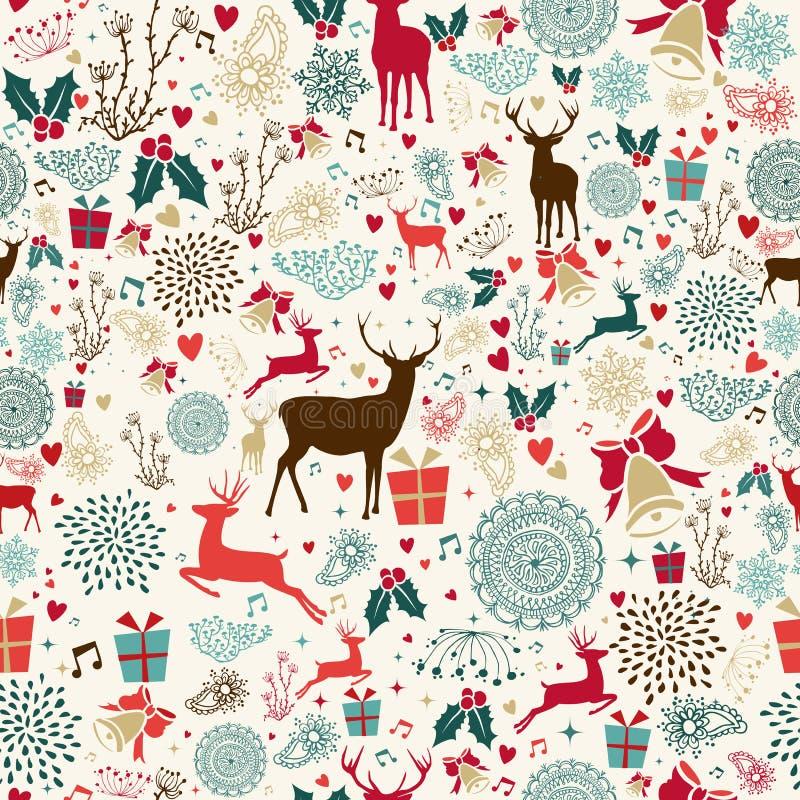 葡萄酒圣诞节驯鹿无缝的样式 皇族释放例证