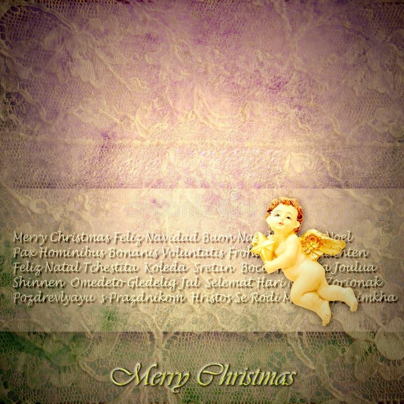 葡萄酒圣诞节贺卡天使和圣诞快乐在人 免版税库存图片