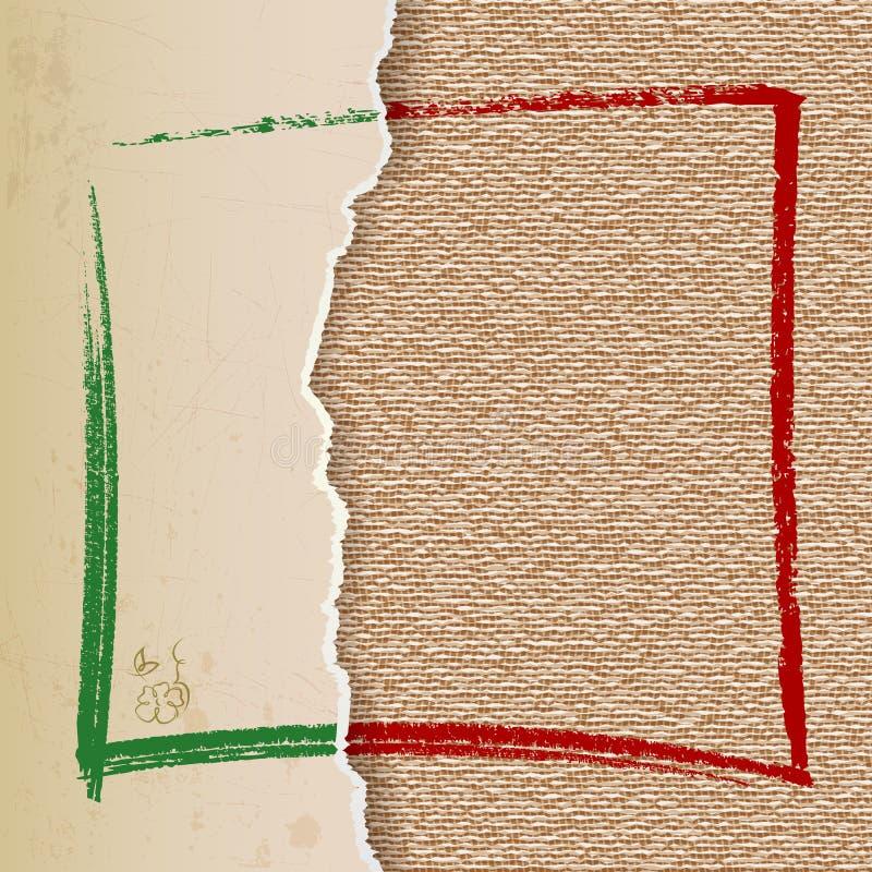葡萄酒在亚麻制纹理的纸泪花 皇族释放例证