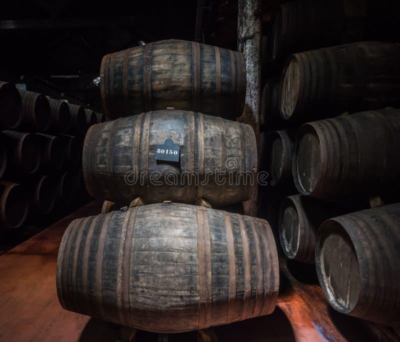 葡萄酒在地窖,加亚新城,波尔图,葡萄牙里滚磨 免版税库存图片