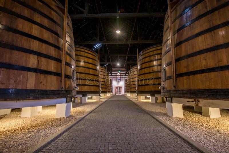葡萄酒在地窖,加亚新城,波尔图,葡萄牙里滚磨 免版税图库摄影
