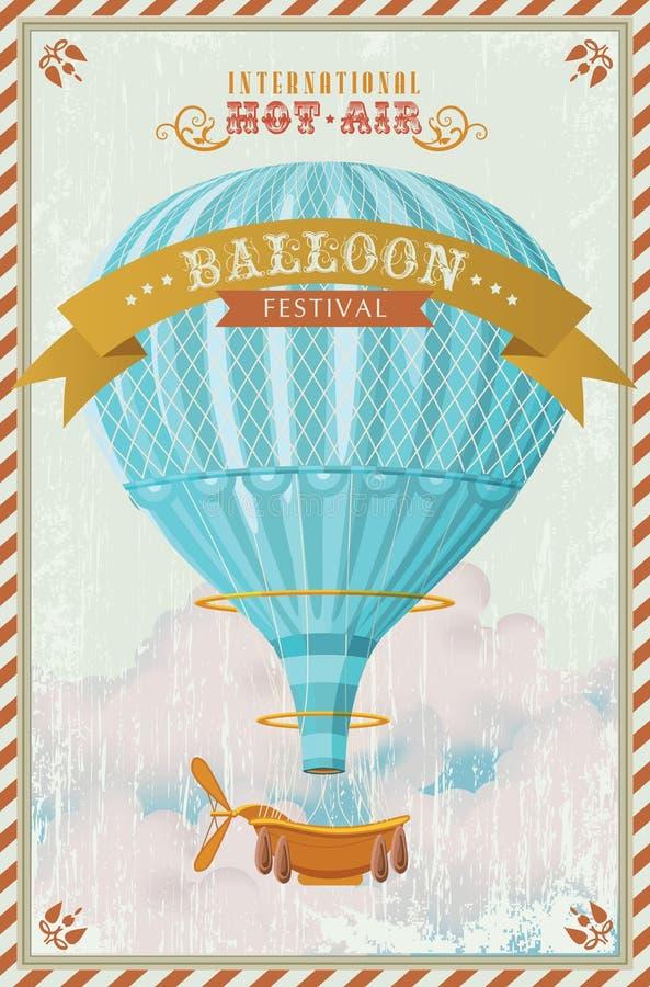 葡萄酒在天空传染媒介的热空气气球 向量例证