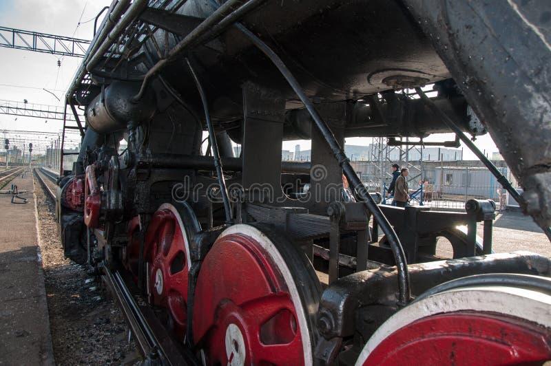 葡萄酒在奥伦堡的驻地的蒸汽机车 库存照片