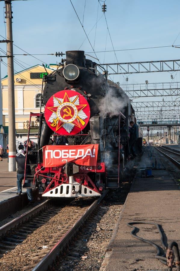 葡萄酒在奥伦堡的驻地的蒸汽机车 库存图片