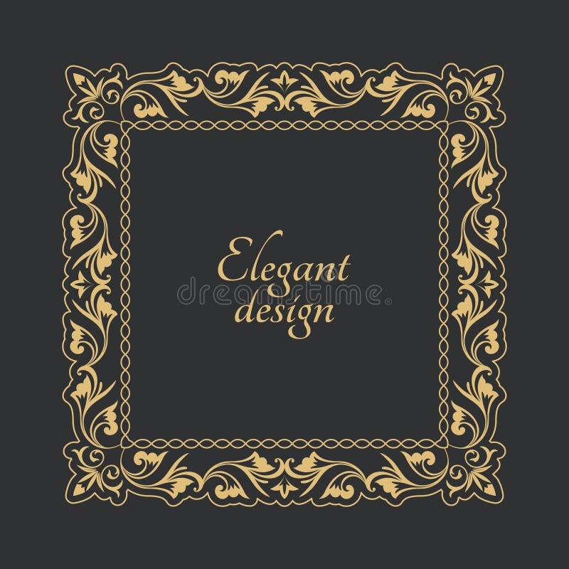 葡萄酒在巴洛克式的样式的金框架 装饰古老装饰品 文本的花长方形形状 下载例证图象准备好的向量 库存例证