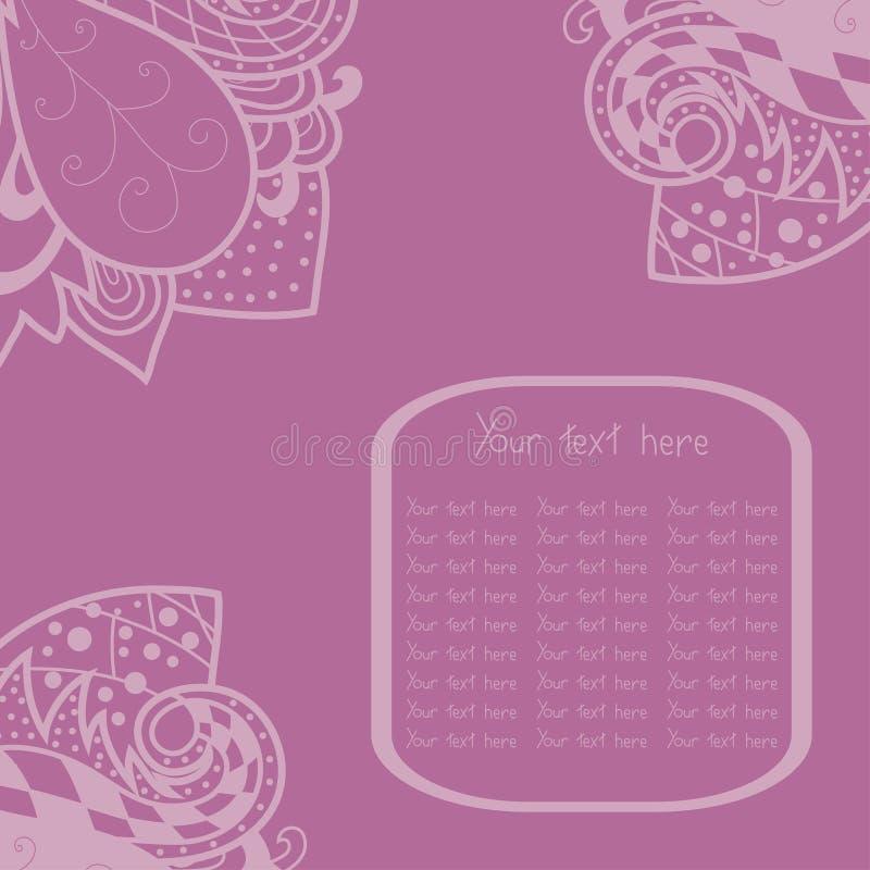 葡萄酒在淡紫色背景与鞋带装饰品,模板卡片的框架设计的邀请角落,在情人节可以使用 向量例证