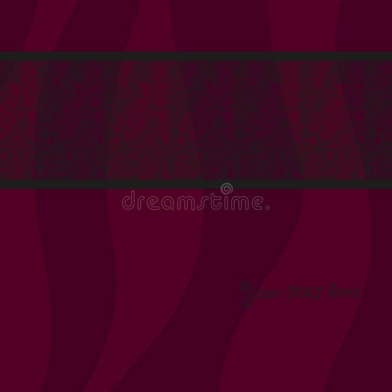 葡萄酒在红色波浪背景的邀请卡片与鞋带装饰品 向量例证