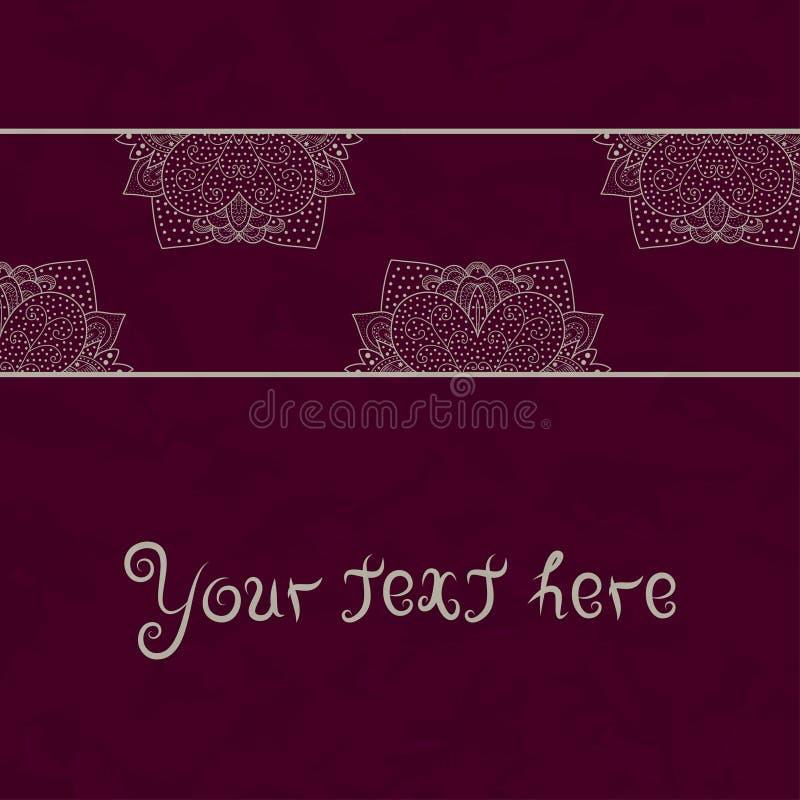 葡萄酒在红色难看的东西背景与鞋带装饰品,模板卡片的,葡萄酒鞋带小垫布框架设计的邀请卡片 皇族释放例证