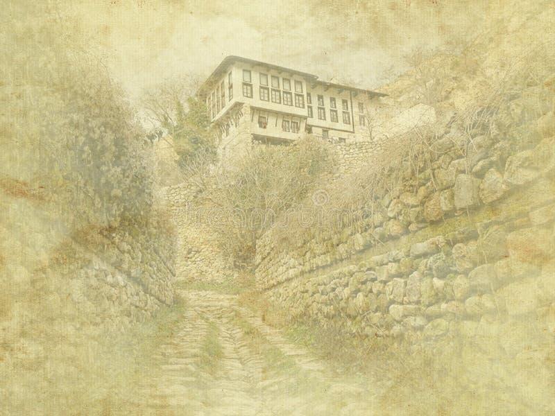 葡萄酒在老纸背景的假日卡片 梅利尼克传统建筑学,保加利亚街道视图 住宅,欧洲 皇族释放例证