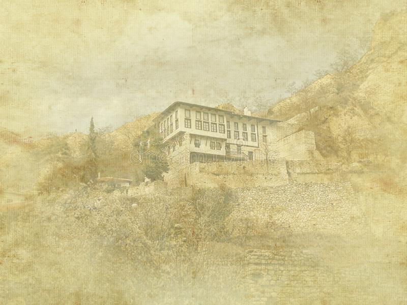葡萄酒在老纸背景的假日卡片 梅利尼克传统建筑学,保加利亚街道视图 住宅,欧洲 库存例证