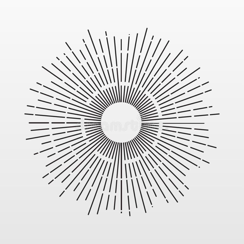 葡萄酒在背景隔绝的太阳光芒 现代简单的平的烟花标志 事务,浓缩的互联网 皇族释放例证