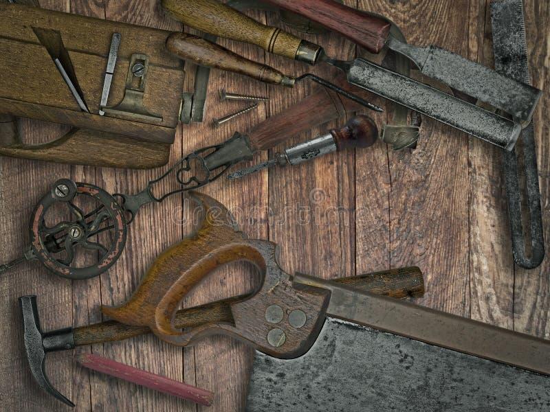 葡萄酒在长木凳的木材加工工具 库存照片