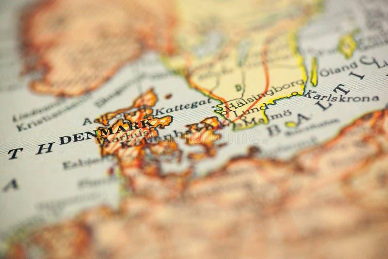 葡萄酒地图的丹麦 免版税库存图片