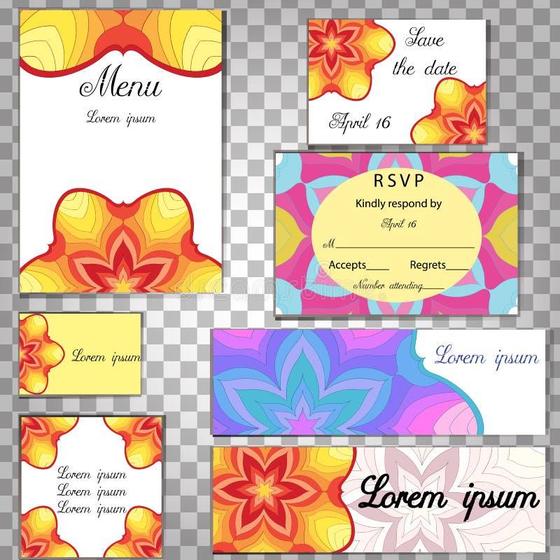 葡萄酒坛场 花卉设计卡片 现代印刷品框架,海报 减速火箭的样式背景模板 五颜六色的婚姻的墙纸, 库存例证