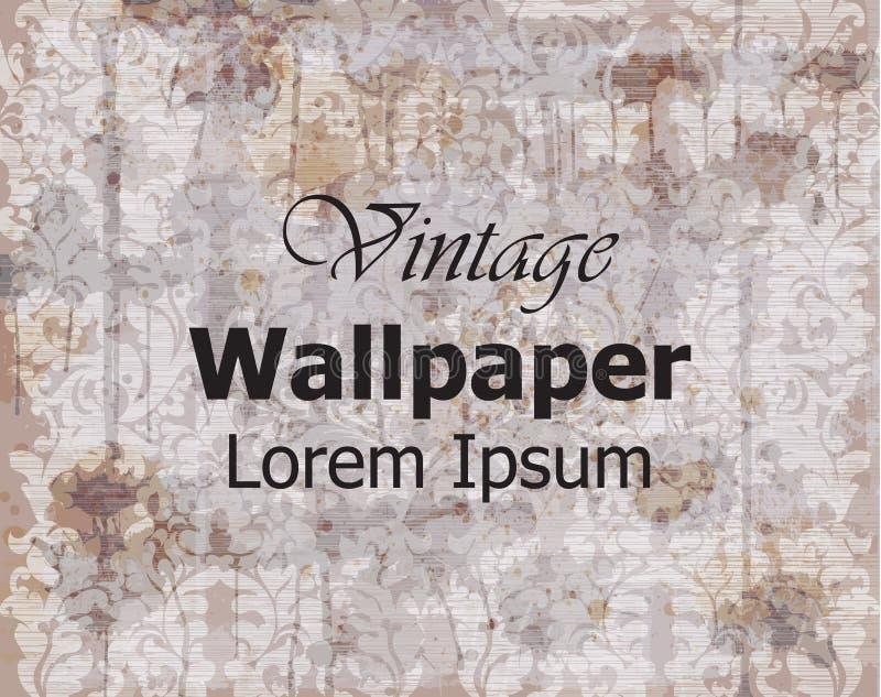 葡萄酒墙纸传染媒介 皇家的装饰品 典雅的样式纹理 老被弄脏的作用 库存例证